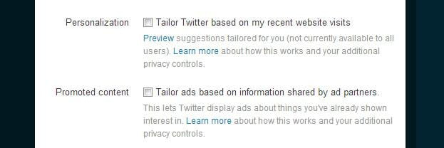 Twitter ad targeting opt out