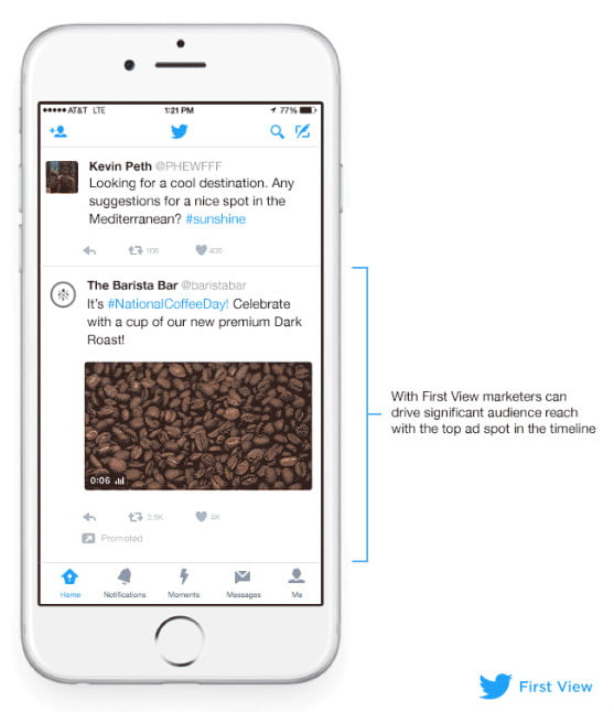 twitter - first view ad unit