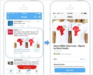 Twitter's 'buy' button featured on a product page