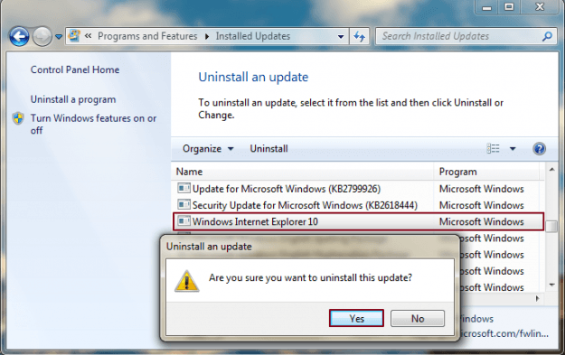 Uninstall Internet Explorer Screencap 2