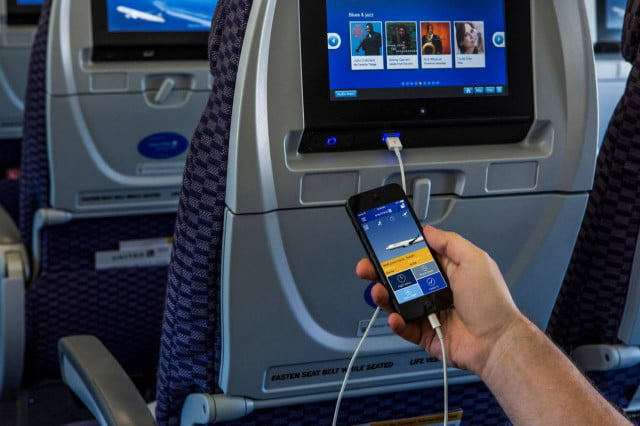 United Airlines seatback On-Demand Entertainment
