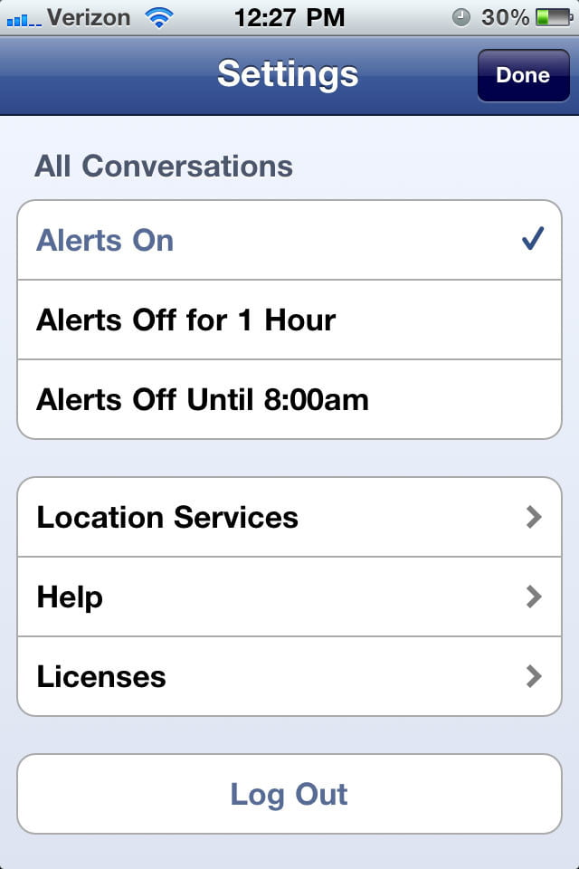 Facebook Messenger Universal-Settings