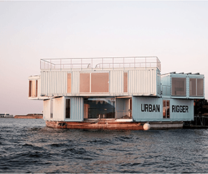 Danish students taketo the seas in floating shipping container apartments