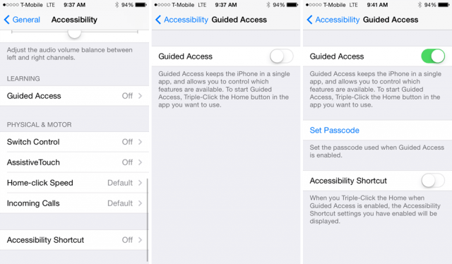 Guided Access Settings in iPhone