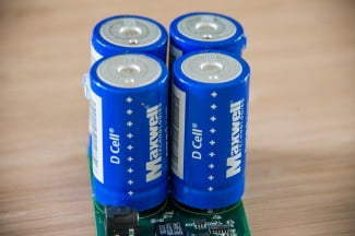 A cluster of supercapacitors on a circuit board