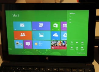The Personalize option is missing from the Windows 8 Settings screen.