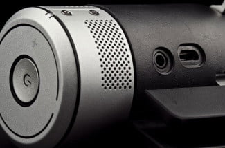 definitive technology sound cylinder side mounted io buttons power volume toggle 3.5 mm audio input jack