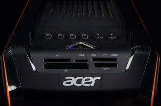 acer predator ag3620 ur12 gaming desktop front top ports illumination