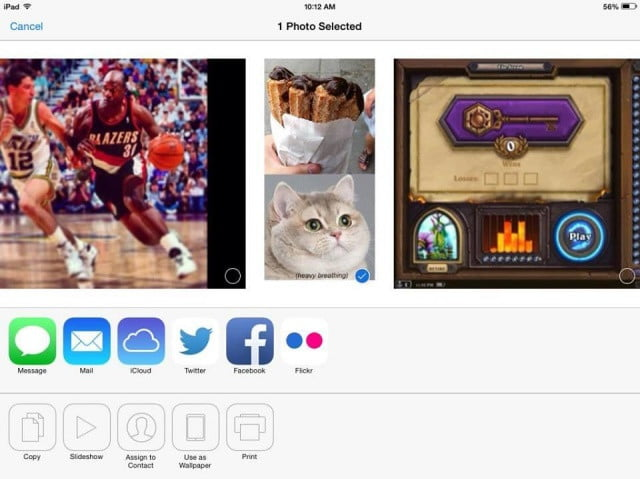 Sharing photos online with an iPad