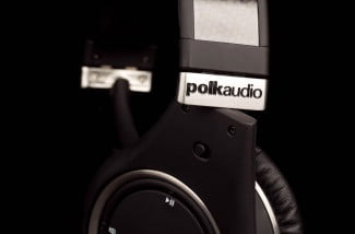 polk ultrafocus 8000 active noise canceling headphones on ear apple microphone and audio control buttons
