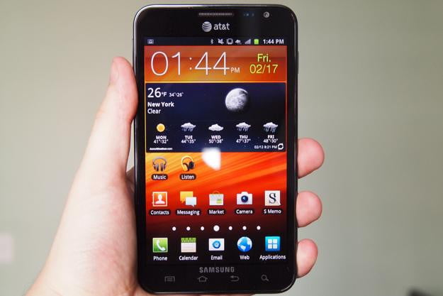 Samsung galaxy note tablet phone in hand
