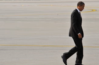 President Barack Obama arrives at LAX Airport in Los Angeles, Ca for a rally in downtown