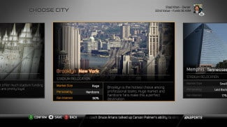 Madden NFL 25 Playbooks 3 and 4 Connected Franchise choose city