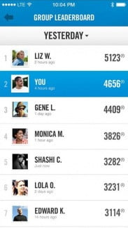 Nike Fuelband SE group leaderboard