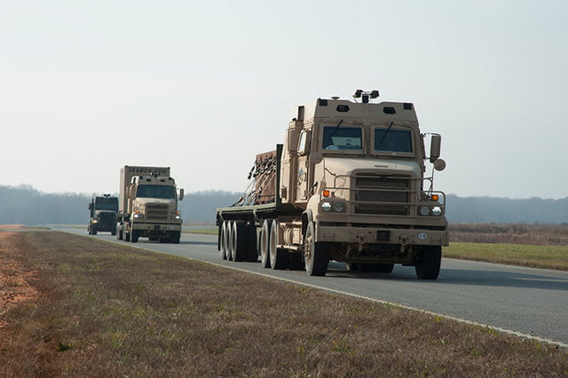 army self driving trucks us on road