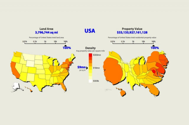 the u s mapped by property value not land area us map