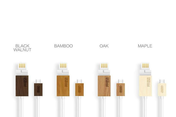usbduo wood multi function cable kickstarter colors