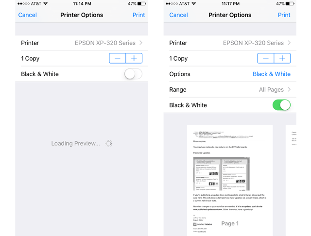 AirPrint on iOS