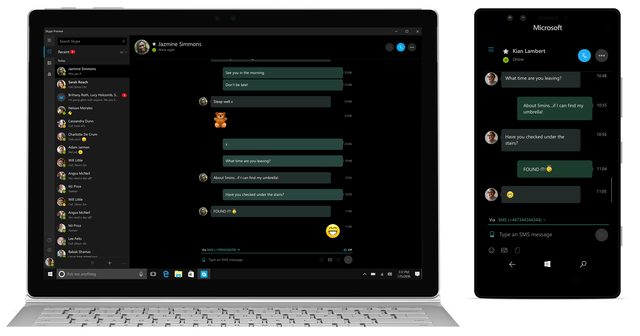 skype preview sms mms relay windows  smartphone pc