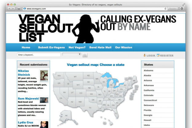 exvegans vegan sellout list