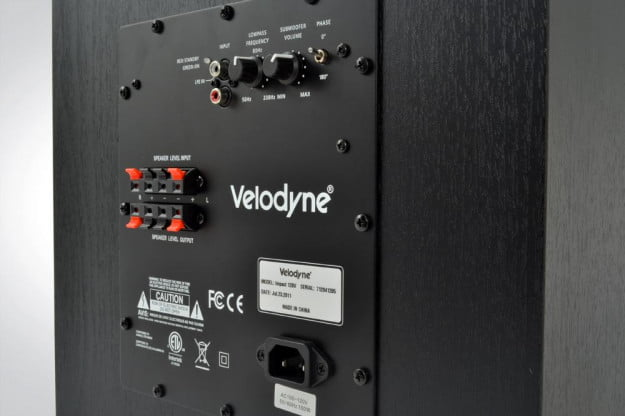velodyne impact 12 subwoofer rear ports rca line in out io connections audio