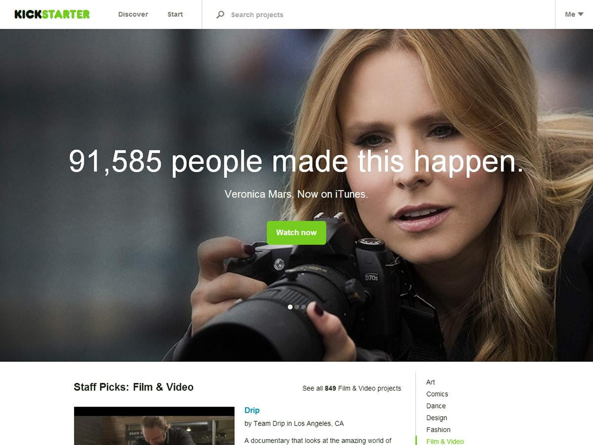 kickstarter brings hundreds crowdfunded films itunes veronica mars