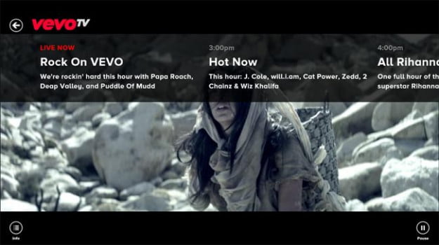 Vevo Windows 8 app