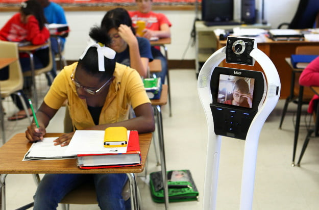 VGo student in class hires