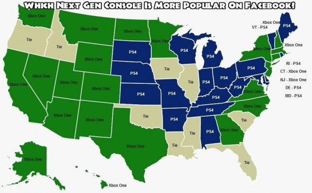 Video game consoles Facebook likes by state