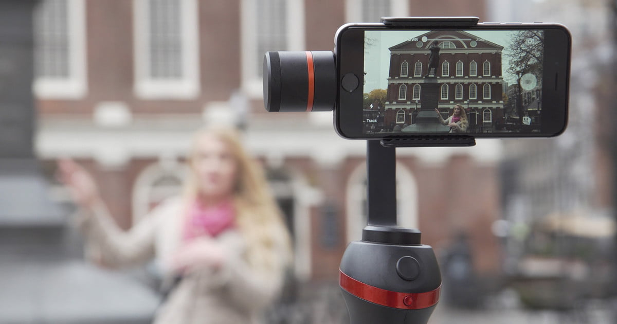 This stabilizer gives smartphone cameras auto follow, physical controls