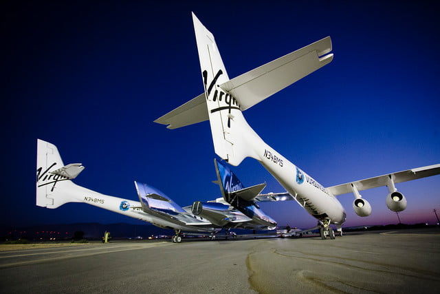 virgin galactic spaceshiptwo mothership eve (vms eve) mated to spaceship unity (vss unity) taxis out runway before taken the