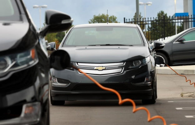 Chevrolet Volts plugged in