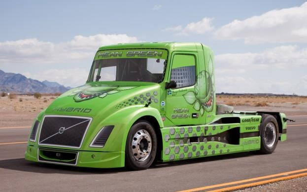 Volvo hybrid truck Mean Green