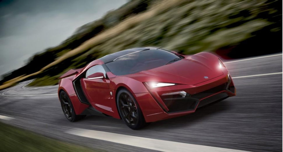 W Motors Lykan Hypersport front three quarter red