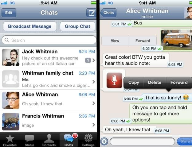 WhatsApp Messenger iPhone app screenshots