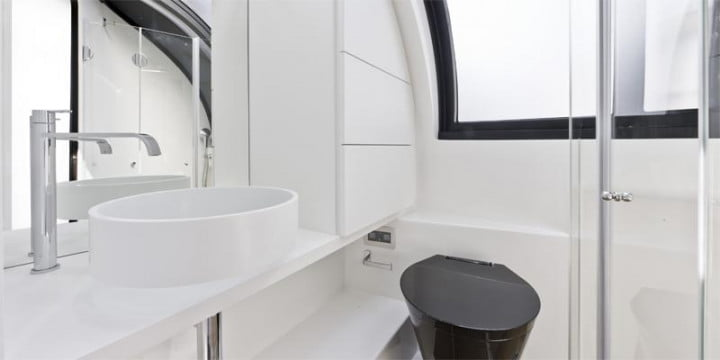 wider  yacht contains an expandable deck bathroom