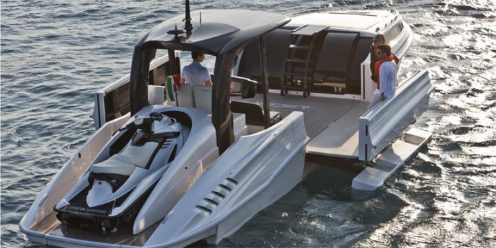 wider  yacht contains an expandable deck close