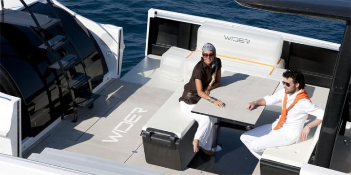 wider  yacht contains an expandable deck