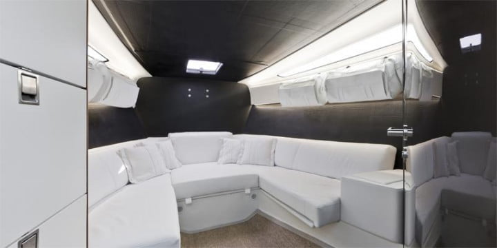 wider  yacht contains an expandable deck interior
