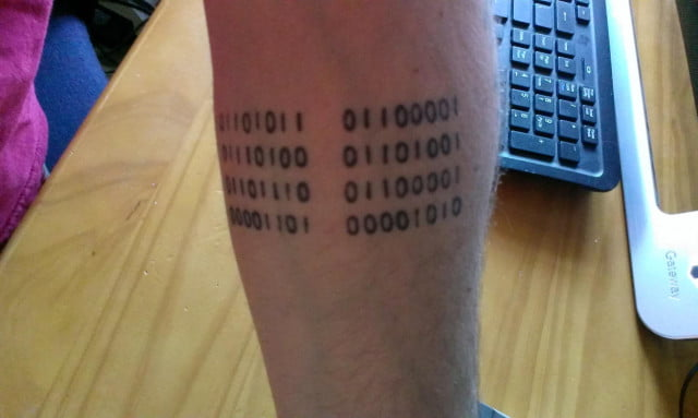 Binary Leg Tattoo