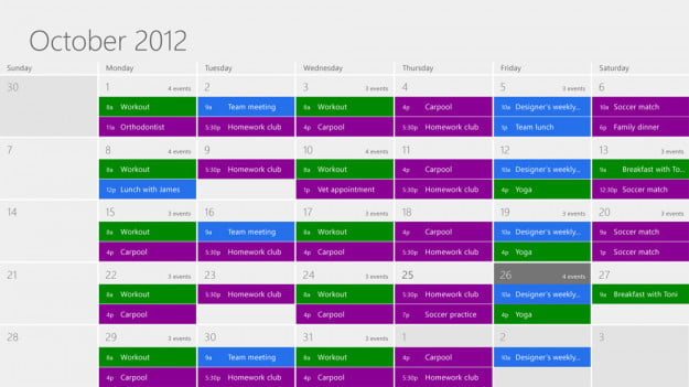 Windows 8 review screenshot calendar app microsoft pc