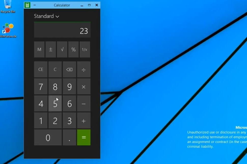 Here's the Calculator app running in windowed mode.