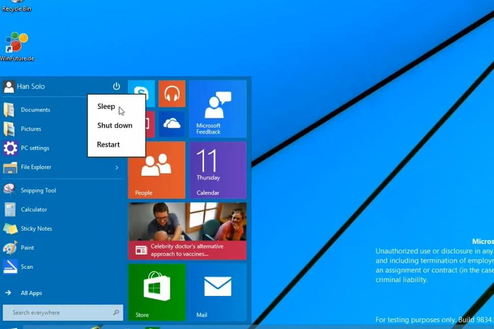 The Start menu in gives you one more way to shut down, restart, or sleep.