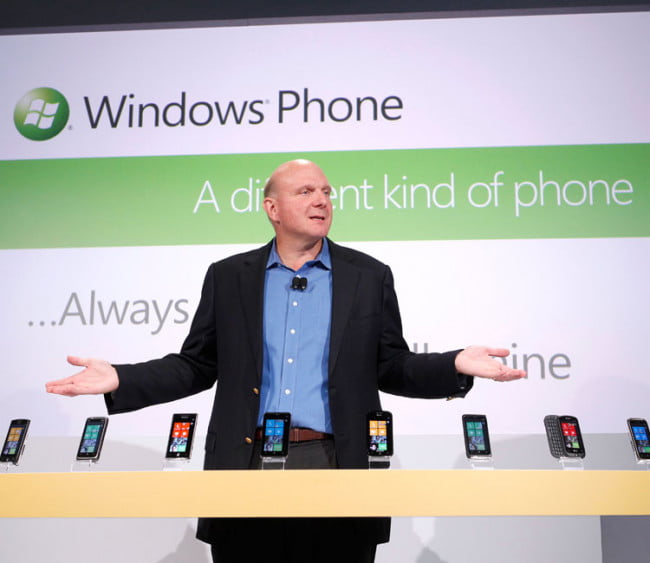 Steve Ballmer showing off the Windows Phone 7 lineup