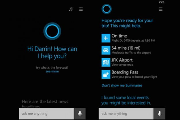Windows Phone 8.1 Cortana Screens