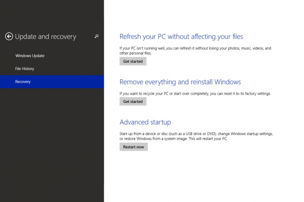 how to go to factory settings on windows 8