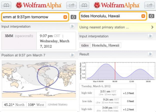 wolfram alpha screenshot android ios productivity app
