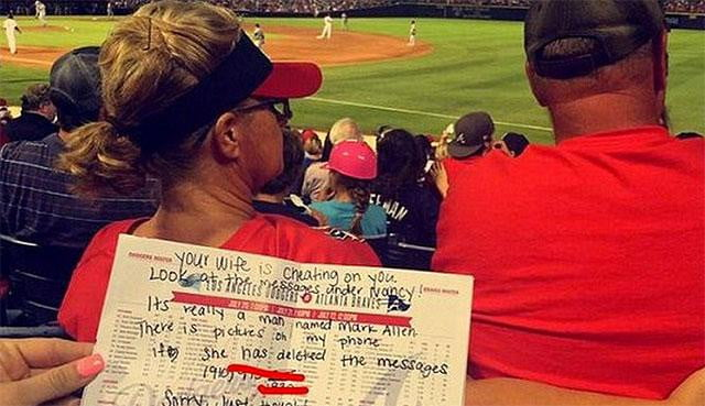 woman caught cheating on husband during atlanta braves game