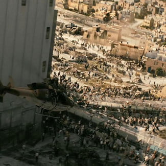World War Z special effects helicopter zombies Israel