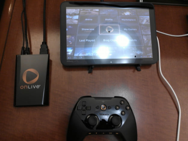 OnLive system and controller running on a Motorola Xoom